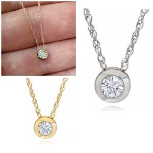 Jewelry - 1/3CT Natural Bezel Solitaire 14K Gold Pendant
